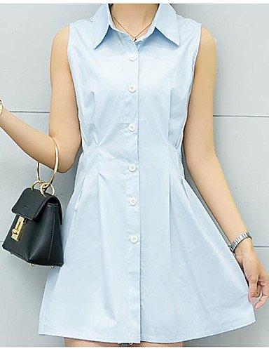bleu petit Xuanku Femmes 039;S Facile Tous Les Jours D'été Jupe Simple Chemise à Manches Courtes Col Chemise Solide,