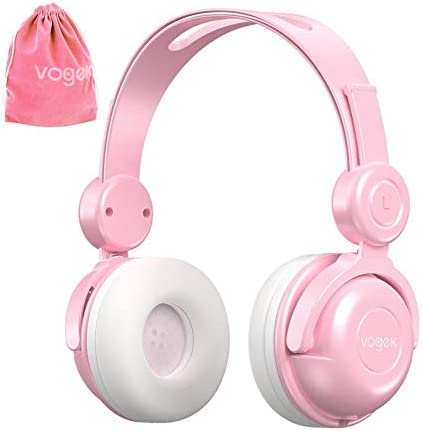 Kids Headphones with Pouch, Vogek Wired On-Ear Child Headset with Mic, HD Sound Sharing Function and 85dB Volume Limited Hearing Protection for Phone Tablet PC Kindle (Pink)