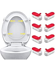 8Pcs Universal Toilet Seat Bumpers Pads Replacement Kit Toilet Lid Cover Gasket Seat Buffer Spacers with Strong Adhesive for Home and Hotel(White)