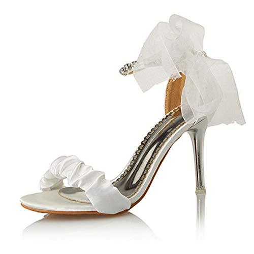 KPHY-Sommer Frauen - Sandalen Zehen High Heels Schuhe Fliege Modische Schuhe Heels 9Cm 36 Weiße - a22794