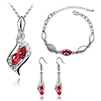Graces Dawn Beautiful Cubic Zirconia with Platinum Plated Chain Necklace Angel Elf Pendant Mosaic crystal Necklace bracelet and earrings set Necklace 18 (Red)