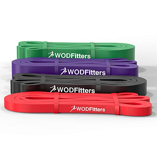 WODFitters Pull Up Assistance Bands - Stretch Resistance Band - Mobility Band - Powerlifting Bands, Durable Workout/Exercise Bands - 4 or 5 Band Set
