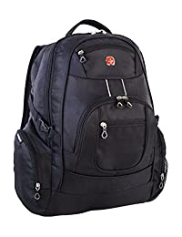 Swiss Gear International Carry-On Size Laptop Backpack - Holds Up to 17.3-Inch Laptop, Black