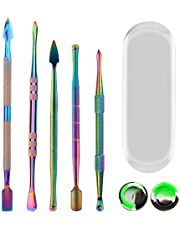 LUTER 5 PCS Wax Carving Tools Wax Carving Tool Kit Stainless Rainbow Sculpting Tools Wax Carving Tools and 3ml silicone container for Sculpting, Modeling, Scraping, Shaping