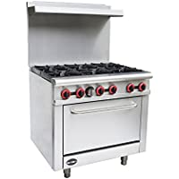 Heavy Duty Commercial 36' Gas 6 Burner Range with Oven