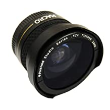 Polaroid Studio Series 37mm .42x High Definition Fisheye Lens With Macro Attachment, Includes Lens Pouch and Cap Covers