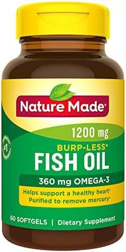 Nature Made Burpless Fish Oil 1200 mg  w. Omega-3 360 mg Softgels 60 Ct