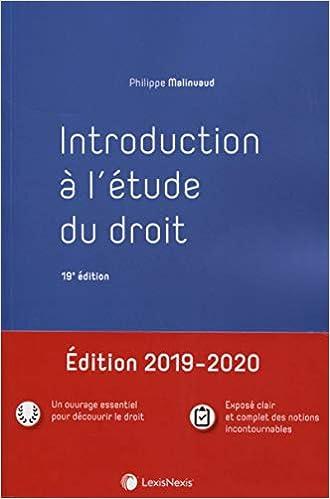 Introduction à l'étude du droit (Français) Broché – 27 juin 2019 de Philippe Malinvaud