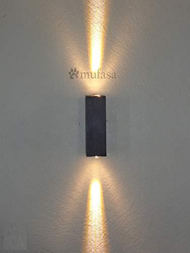 Mufasa 6W Up-Down Outdoor Beam LED Bulkhead Waterproof IP65 Exterior Wall Step Light Fixture Waterproof Lamp 3 X 2 Watts (Warm White)