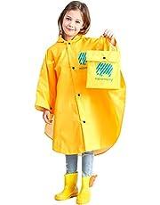 Kids Raincoat Waterproof Poncho Rain Cape - Girls Boys Hooded Rain Jacket Lightweight Rainwear Portable Rain Suits Slicker for School Traveling Cycling Outdoors, Yellow Rose Blue