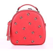 Alba Soboni Ukrainian Designed Women's PU Leather Embroidered Lady's Stylish Bag 2in1 Applique Backpack Casual Beautiful Handbag