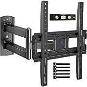 #LightningDeal PERLESMITH TV Wall Mount Bracket Full Motion Single Articulating Arm for Most 32-55 Inch LED, LCD, OLED, Flat Curved TVs with Tilt, Swivel and Rotation up to 77lbs VESA 400x400mm