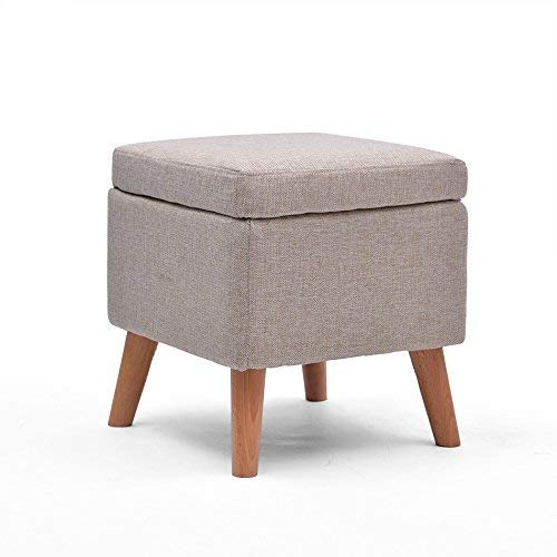 2 SED Chair - Square Upholstered Footstools Storage Box Seat Folding Foot Stool Linen Fabric Cover Adult Home Stool