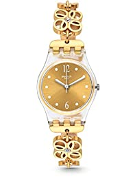 Swatch Women's 25mm Gold-Tone Steel Bracelet Plastic Case Quartz Analog Watch LK360G