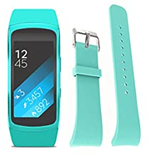 ABC Luxury Silicone Replacement Strap Watch Band for Samsung Gear Fit 2 SM-R360 Wristband (Small) (Mint green)