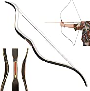 """ZSHJGJR Traditional Handmade Longbow Horsebow 44"""" 52"""" Hunting Laminated Recurve Bow 6-35lbs for Yout"""