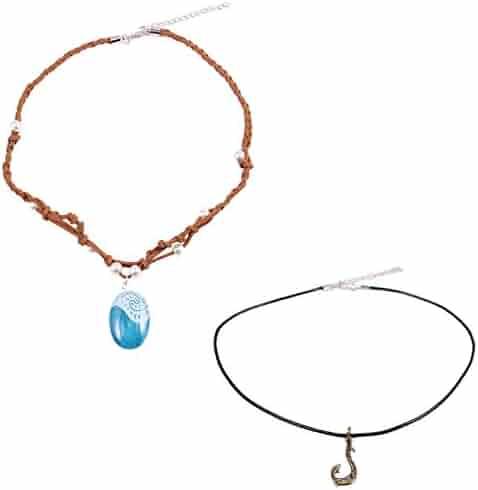 T-PERFECT LIFE Polynesian Princess Seashell and Hero Magic Fish Hook Necklace 2 Set for Kids
