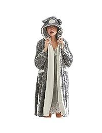 Belgius Women Fleece Robe Flannel Bathrobe Bear Hoodie Self-Belt Winter Sleepwear