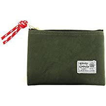 Rough Enough Heavy Duty Canvas Small Portable Fancy Vintage Travel Pouch Bag Folder Case Organizer Holder Storage with Zipper for Macbook Laptop Tablet Phone Accessories Kids at Outdoor Raw Green