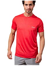 Magma Contrast Chest Logo Print Short Sleeves Round Neck Slim-Fit Sports T-Shirt for Men