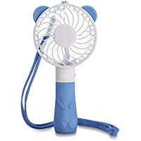 Security Portable Mini Fan Personal Necklace Fan Handheld Air Fan for Travel, Home and Office, USB Rechargeable, 4 Blades, 1 Switch, 2 Speeds Adjustable (Blue)