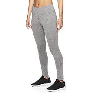 Reebok Women's Leggings Full Length Performance Compression Pants - Athletic Workout Leggings for Women for Gym & Sports - Grey Dawn Heather, Medium