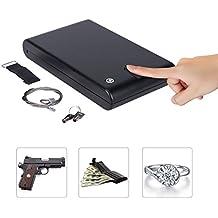 CO-Z Portable Hand Gun Safe, Lockbox Jewelry Lock Box, Pistol Safe, with Key Lock & Fingerprint Sensor for Valuables, Cash, Pistols & Handguns (XXL, Fingerprint & Keylock)