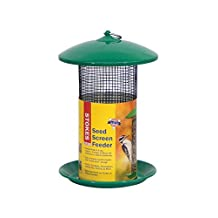 Stokes Select Seed Screen Bird Feeder with Metal Roof, Green, 4.4 lb Seed Capacity