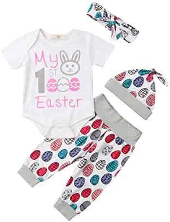 1e91e840b1e8 Unisex Baby 4 Pieces My 1st Easter Outfits Sets Easter Egg Print Romper  Pants Hat Headband
