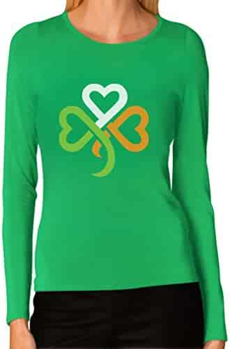 Shamrock Ireland Clover hearts For ST. Patrick's Day Women Long Sleeve T-Shirt