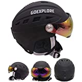 ShiningLove Ski Helmet with Half-Covered Visor Goggles Outdoor Sport High Impact ABS Snowboard Skate Full Head Safety Helmets
