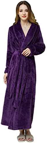 d992ad611b AMONIDA Fleece Bathrobe for Women Long Robes Soft Pajamas