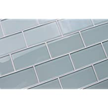 "3"" x 6"" Sample Piece - Ice Age Light Blue Green 3x6 Glass Subway Tiles"