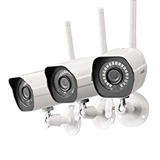 Zmodo Outdoor Camera Wireless, 1080p Security Camera Wireless, 3 Pack Indoor Outside WiFi Cameras Wireless, IR Night Vision, Motion Detection, Remote View, Easy Setup, White, Compatible with Alexa