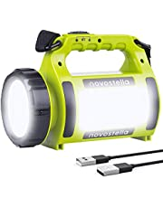 NOVOSTELLA Rechargeable CREE LED Torch, Multi-functional Camping Light, Waterproof LED Spotlight Searchlight, High Power Beam Flashlight, 650lm Lightweight Lantern, 2000mAh Battery