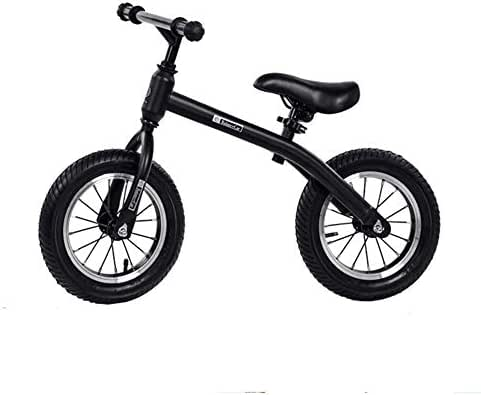 Children's bicycles Carbon Steel Frame Black Balance Car, 2-6 Years Old Children's Inflatable Roller Skating Walker Without Pedal Stroller Yo-Yo Bicycle, 12 Inch