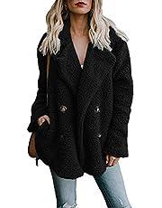 Alicegana Women's Autumn and Winter New Lapel Pocket Suit Collar Plush Button Coat Jacket