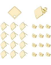 UNICRAFTALE ongeveer 50 stks Gouden Rhombus Stud Oorbellen 304 Rvs Oorstekers met Loop 0.8mm Pin Stud Oorbel Bevindingen voor DIY Dangle Oorbellen Maken