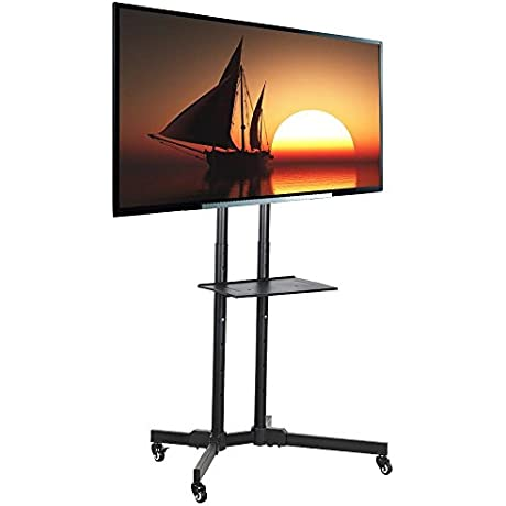 Topeakmart Mobile TV Cart Stand With Mount For LED LCD Plasma Flat Panels TV On Wheels Fits 32 To 65 Inch