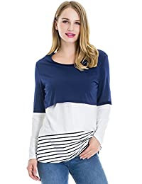 Smallshow Women's Long Sleeve Back Lace Maternity Nursing Tops