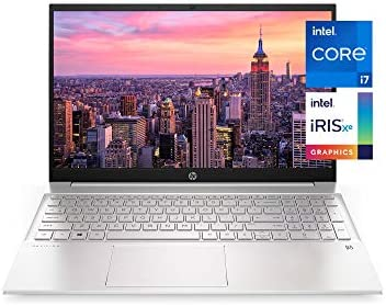 HP Pavilion 15-inch Laptop, eleventh Generation Intel Core i7-1165G7 Processor, Intel Iris Xe Graphics, 16 GB RAM, 512 GB Solid State Drive, Windows 10 Pro (15-eg0021nr, Natural Silver Aluminum)