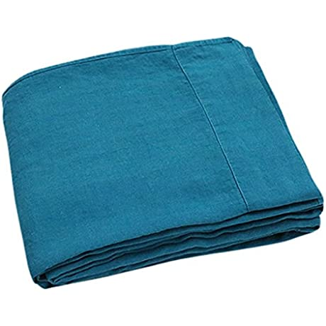 LinenMe Stone Washed Bed Linen Flat Sheet Marine Blue