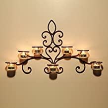 Asense HDA012 Iron and Glass Horizontal Wall Hanging Candle Holder Sconce - Scolled Vine Detail - Holds 7 Candle (No include Candle)