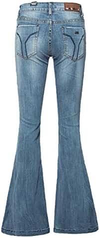 AvaCostume Women's Mid-Rise Bell-bottom Wide Leg Flare Jeans