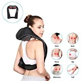 Naipo Neck Shoulder and Back Massager Cordless Rechargeable with 8 Shiatsu Heating Kneading Massage Nodes Three Bi-directional Speeds Longer Straps and for Muscles Pain Relief