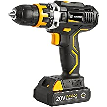 DEKO DARK KNIGHT 20V Lithium-Ion Cordless Drill/Driver 1/2-inch Chuck 2-Speed Max Torque 42N.m 15+1 Position with LED, 100-240V Charger with Advanced Battery Cell