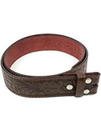 """Leather Belt Strap with Embossed Western Scrollwork 1.5"""" Wide with Snaps"""