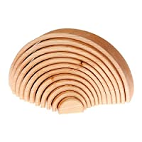 WOODEN RAINBOW STACKER Montessori Waldorf Wooden toys Sculpture Building Tunnel Arches Block Stacker in Natural Eco Organic Stacking & Nesting Game Stacker Learning TOY Nesting Blocks Gift for Baby