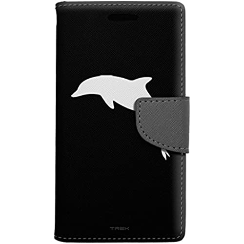 Samsung Galaxy S7 Edge Wallet Case - Silhouette Dolphin on Black Case Sales