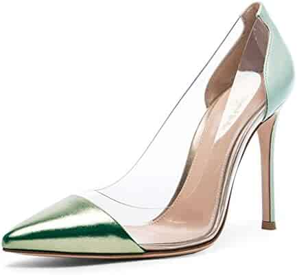 e4f5993ccdf Nancy Jayjii NJPU Women Stilettos High Heels Dress Pumps Pointed Toe Slips  On Transparent Shoes